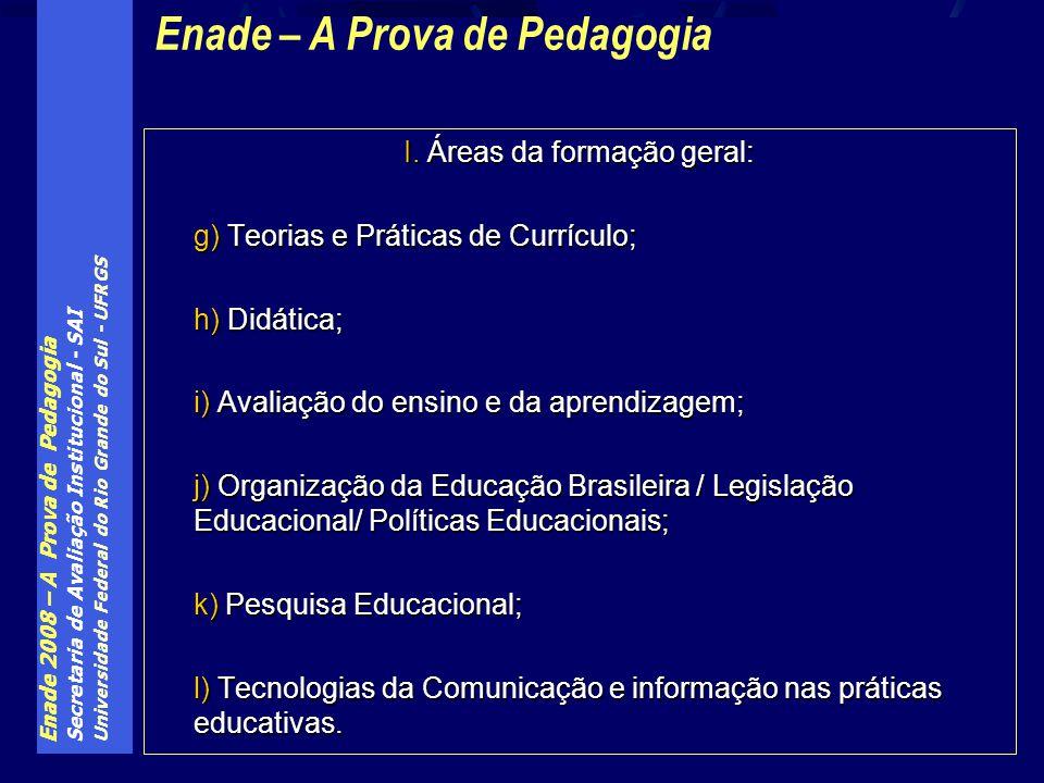 Enade 2008 – A Prova de Pedagogia Secretaria de Avaliação Institucional - SAI Universidade Federal do Rio Grande do Sul - UFRGS I. Áreas da formação g