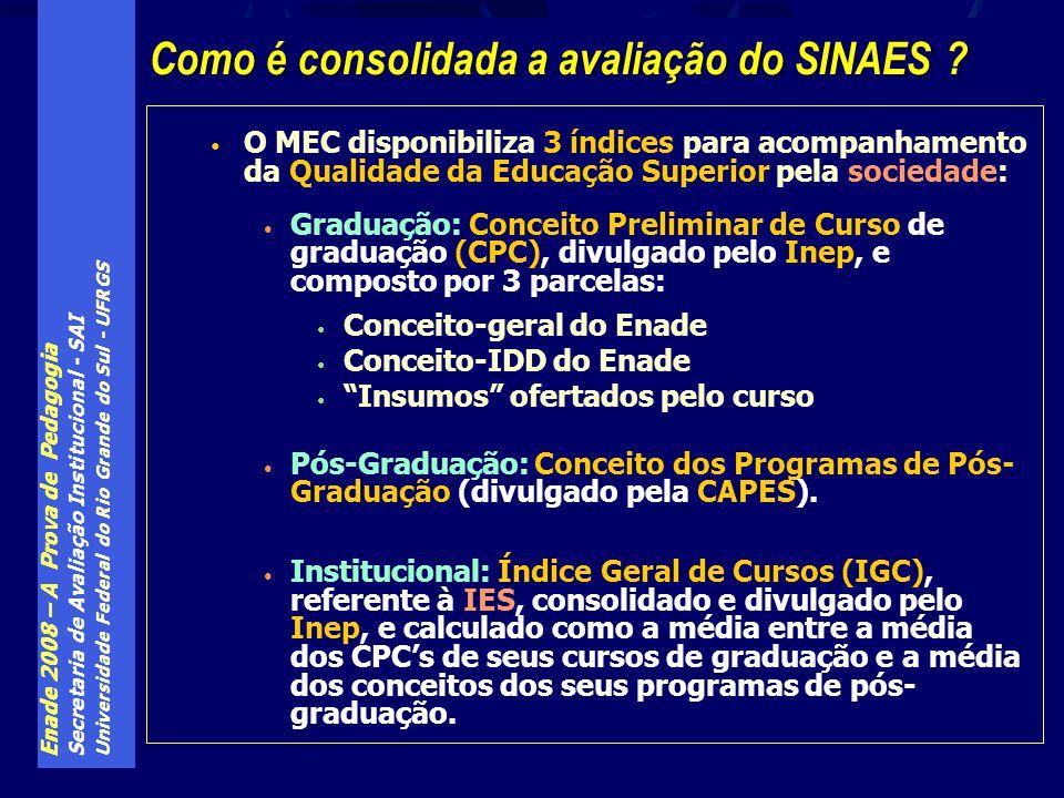 Enade 2008 – A Prova de Pedagogia Secretaria de Avaliação Institucional - SAI Universidade Federal do Rio Grande do Sul - UFRGS O MEC disponibiliza 3
