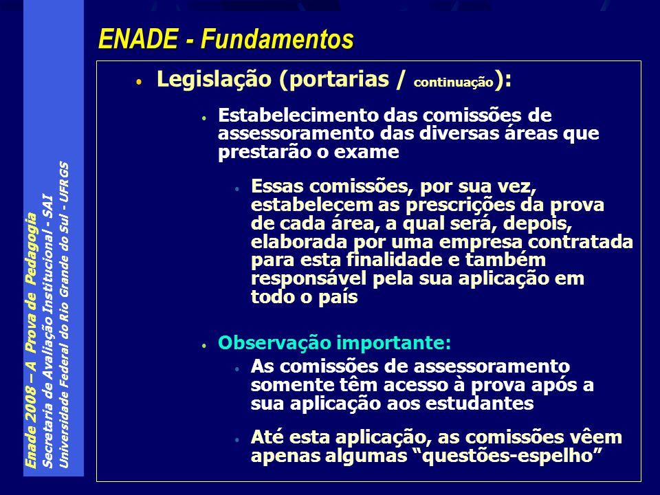 Enade 2008 – A Prova de Pedagogia Secretaria de Avaliação Institucional - SAI Universidade Federal do Rio Grande do Sul - UFRGS Legislação (portarias