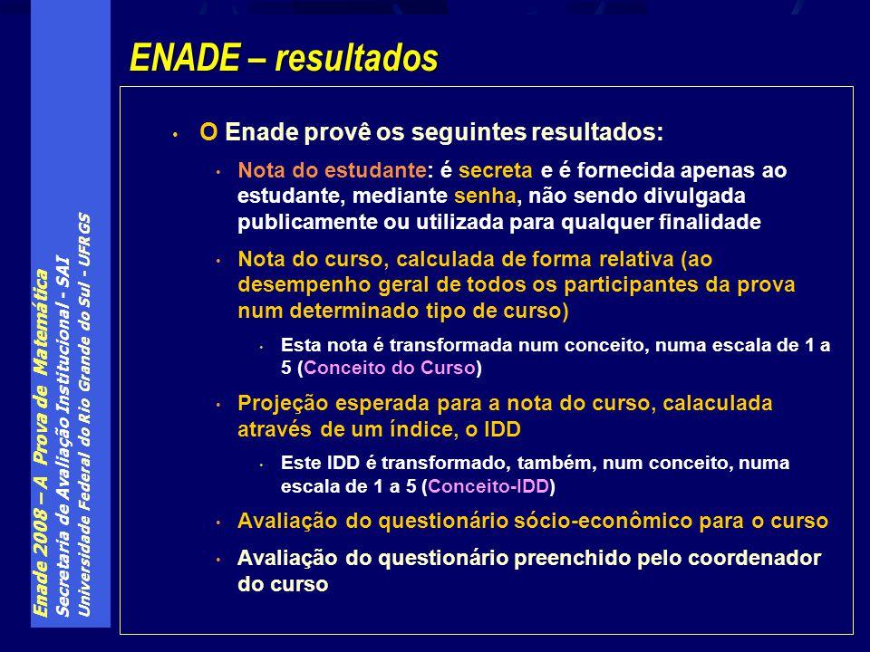Enade 2008 – A Prova de Matemática Secretaria de Avaliação Institucional - SAI Universidade Federal do Rio Grande do Sul - UFRGS O Enade provê os segu