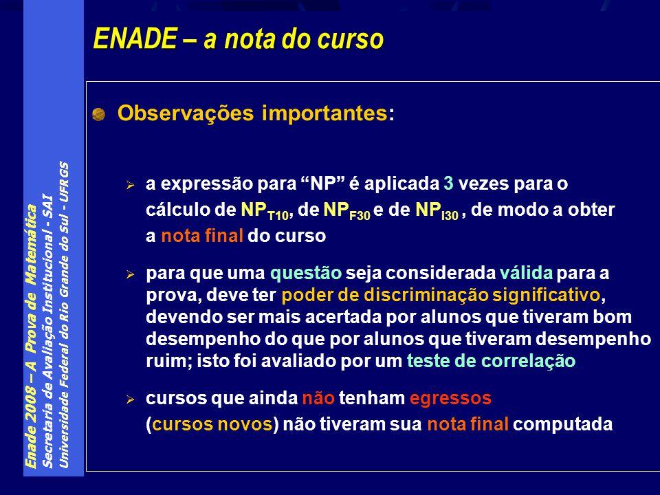 Enade 2008 – A Prova de Matemática Secretaria de Avaliação Institucional - SAI Universidade Federal do Rio Grande do Sul - UFRGS Observações important