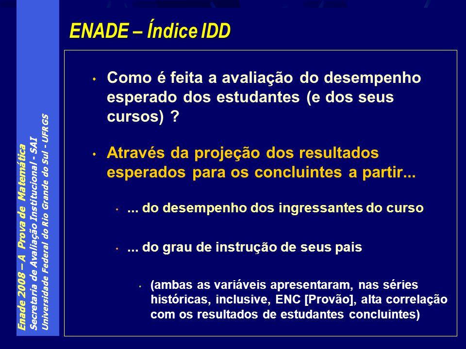 Enade 2008 – A Prova de Matemática Secretaria de Avaliação Institucional - SAI Universidade Federal do Rio Grande do Sul - UFRGS Como é feita a avaliação do desempenho esperado dos estudantes (e dos seus cursos) .
