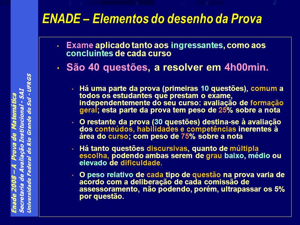 Enade 2008 – A Prova de Matemática Secretaria de Avaliação Institucional - SAI Universidade Federal do Rio Grande do Sul - UFRGS Exame aplicado tanto aos ingressantes, como aos concluintes de cada curso São 40 questões, a resolver em 4h00min.