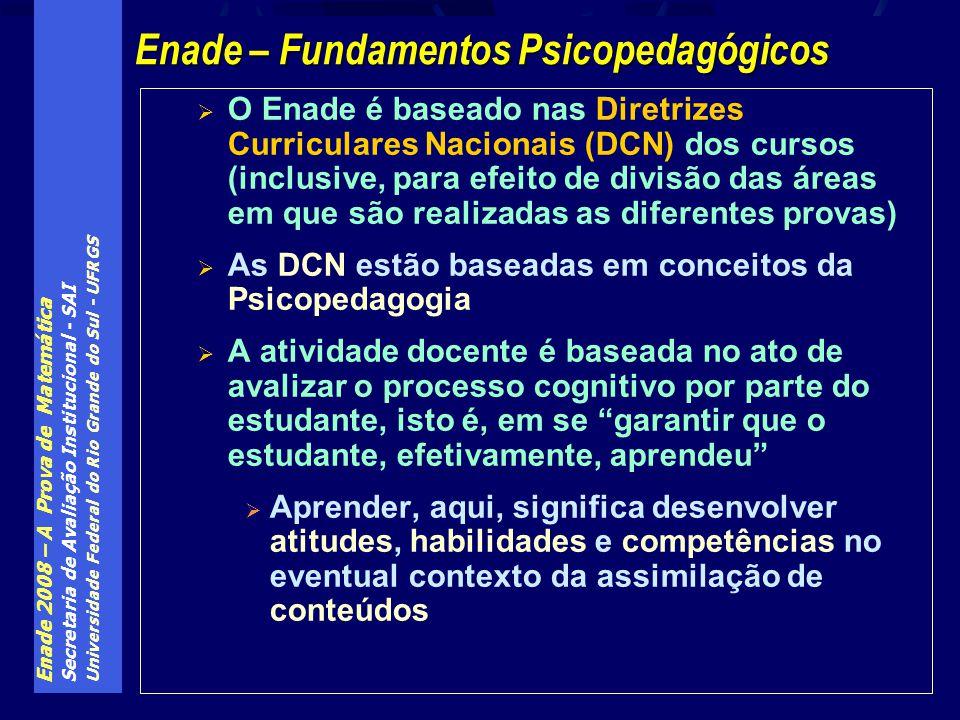 Enade 2008 – A Prova de Matemática Secretaria de Avaliação Institucional - SAI Universidade Federal do Rio Grande do Sul - UFRGS O Enade é baseado nas Diretrizes Curriculares Nacionais (DCN) dos cursos (inclusive, para efeito de divisão das áreas em que são realizadas as diferentes provas) As DCN estão baseadas em conceitos da Psicopedagogia A atividade docente é baseada no ato de avalizar o processo cognitivo por parte do estudante, isto é, em se garantir que o estudante, efetivamente, aprendeu Aprender, aqui, significa desenvolver atitudes, habilidades e competências no eventual contexto da assimilação de conteúdos Enade – Fundamentos Psicopedagógicos