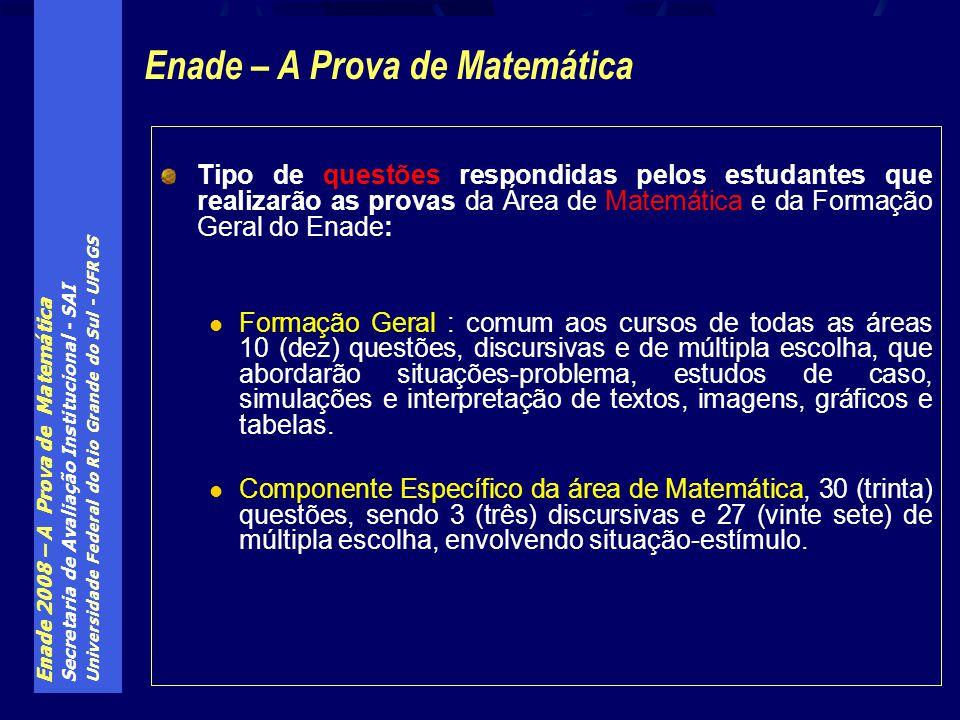 Enade 2008 – A Prova de Matemática Secretaria de Avaliação Institucional - SAI Universidade Federal do Rio Grande do Sul - UFRGS Tipo de questões resp