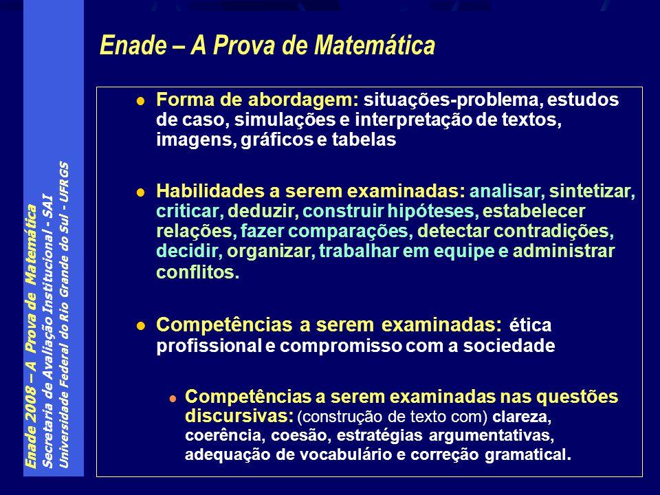 Enade 2008 – A Prova de Matemática Secretaria de Avaliação Institucional - SAI Universidade Federal do Rio Grande do Sul - UFRGS Forma de abordagem: s