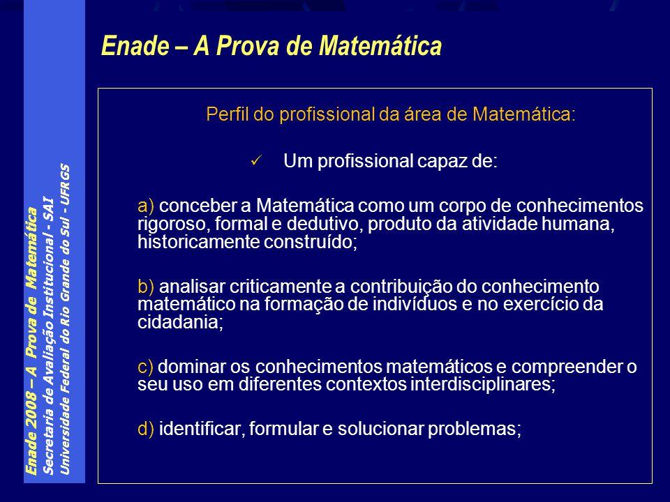 Enade 2008 – A Prova de Matemática Secretaria de Avaliação Institucional - SAI Universidade Federal do Rio Grande do Sul - UFRGS Perfil do profissiona
