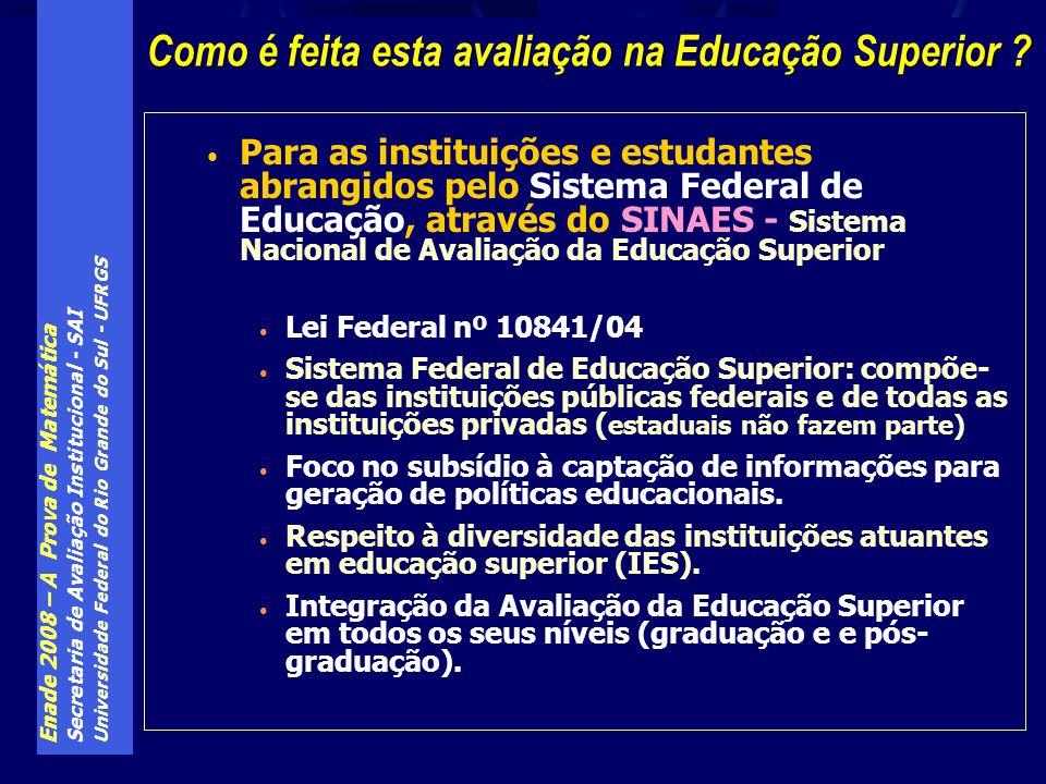 Enade 2008 – A Prova de Matemática Secretaria de Avaliação Institucional - SAI Universidade Federal do Rio Grande do Sul - UFRGS Para as instituições
