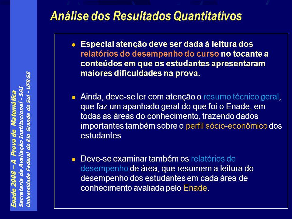 Enade 2008 – A Prova de Matemática Secretaria de Avaliação Institucional - SAI Universidade Federal do Rio Grande do Sul - UFRGS Especial atenção deve
