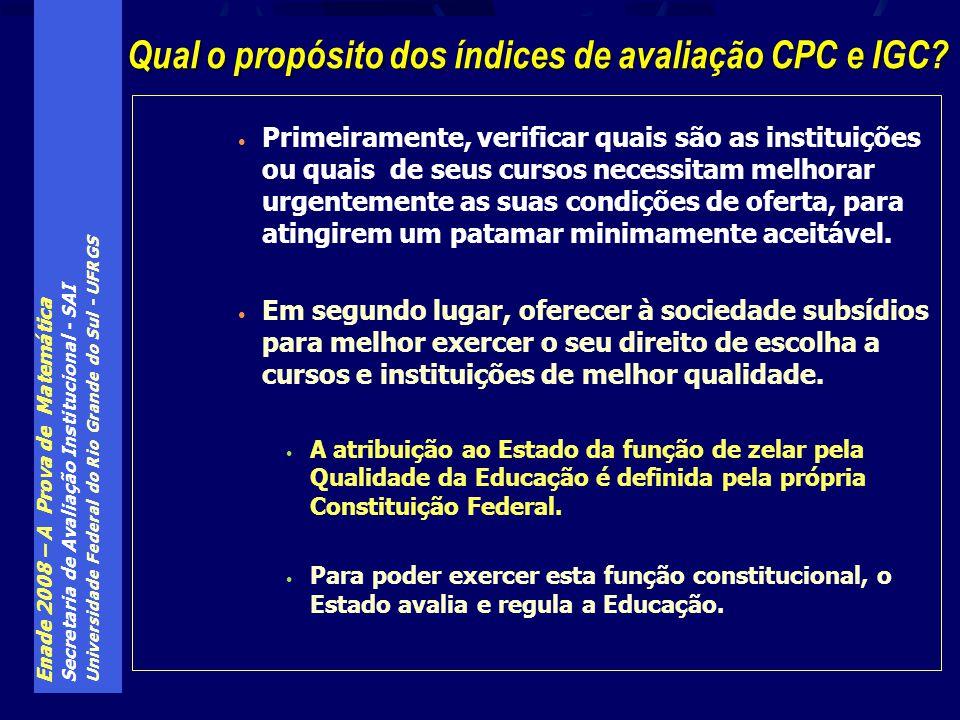 Enade 2008 – A Prova de Matemática Secretaria de Avaliação Institucional - SAI Universidade Federal do Rio Grande do Sul - UFRGS Primeiramente, verifi