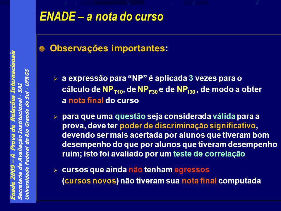 Enade 2009 – A Prova de Relações Internacionais Secretaria de Avaliação Institucional - SAI Universidade Federal do Rio Grande do Sul - UFRGS Observaç