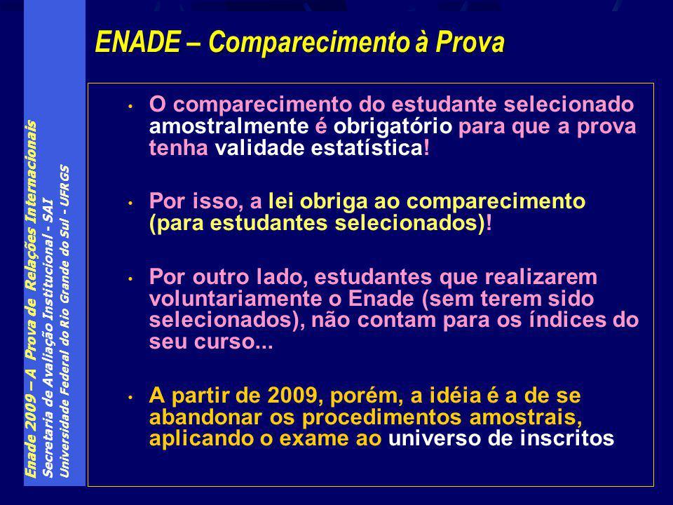 Enade 2009 – A Prova de Relações Internacionais Secretaria de Avaliação Institucional - SAI Universidade Federal do Rio Grande do Sul - UFRGS O compar