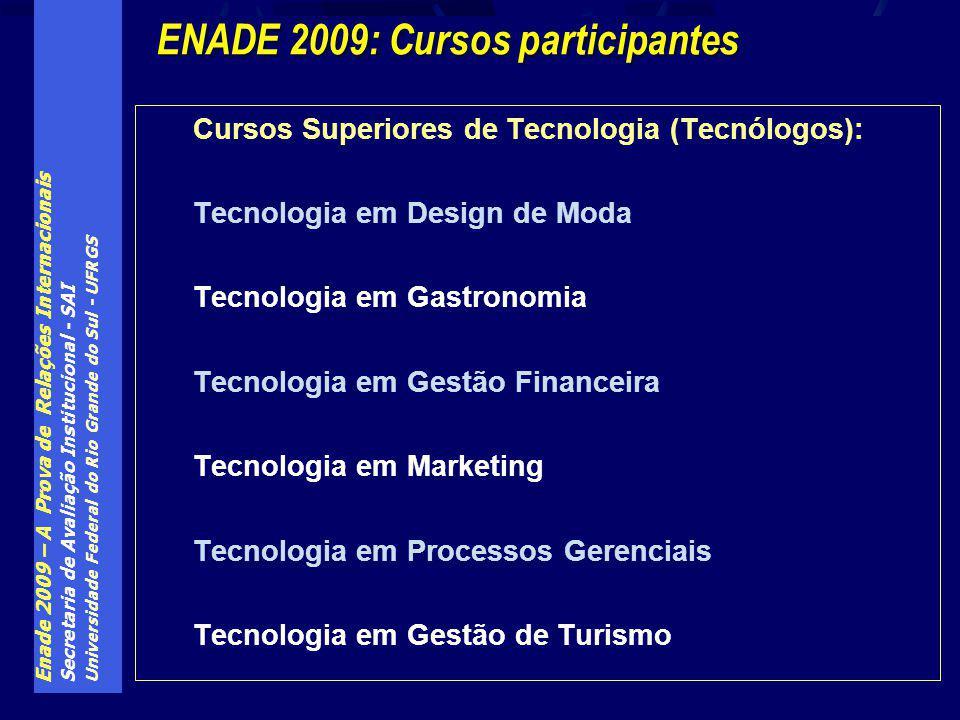 Enade 2009 – A Prova de Relações Internacionais Secretaria de Avaliação Institucional - SAI Universidade Federal do Rio Grande do Sul - UFRGS Cursos S