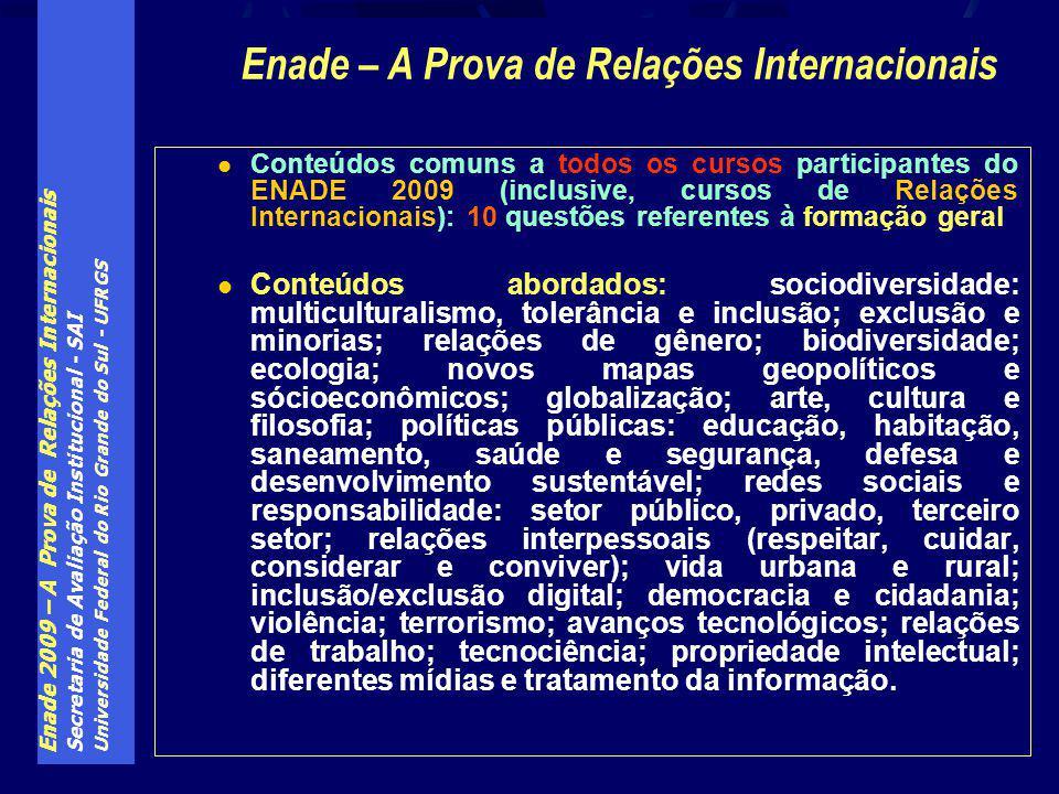 Enade 2009 – A Prova de Relações Internacionais Secretaria de Avaliação Institucional - SAI Universidade Federal do Rio Grande do Sul - UFRGS Conteúdo