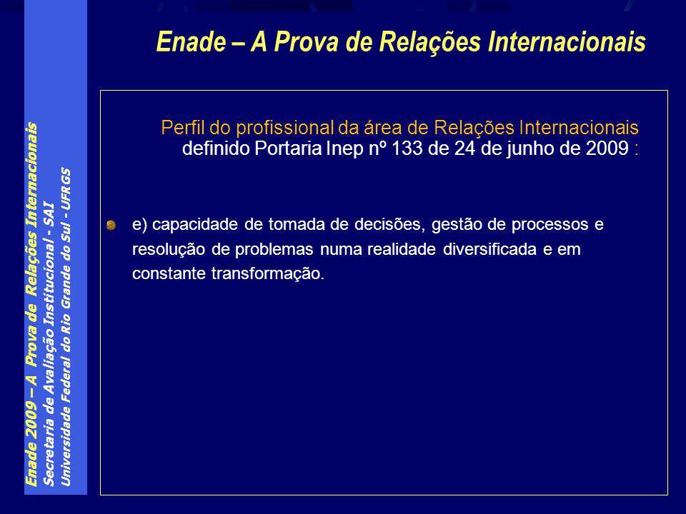 Enade 2009 – A Prova de Relações Internacionais Secretaria de Avaliação Institucional - SAI Universidade Federal do Rio Grande do Sul - UFRGS Perfil d