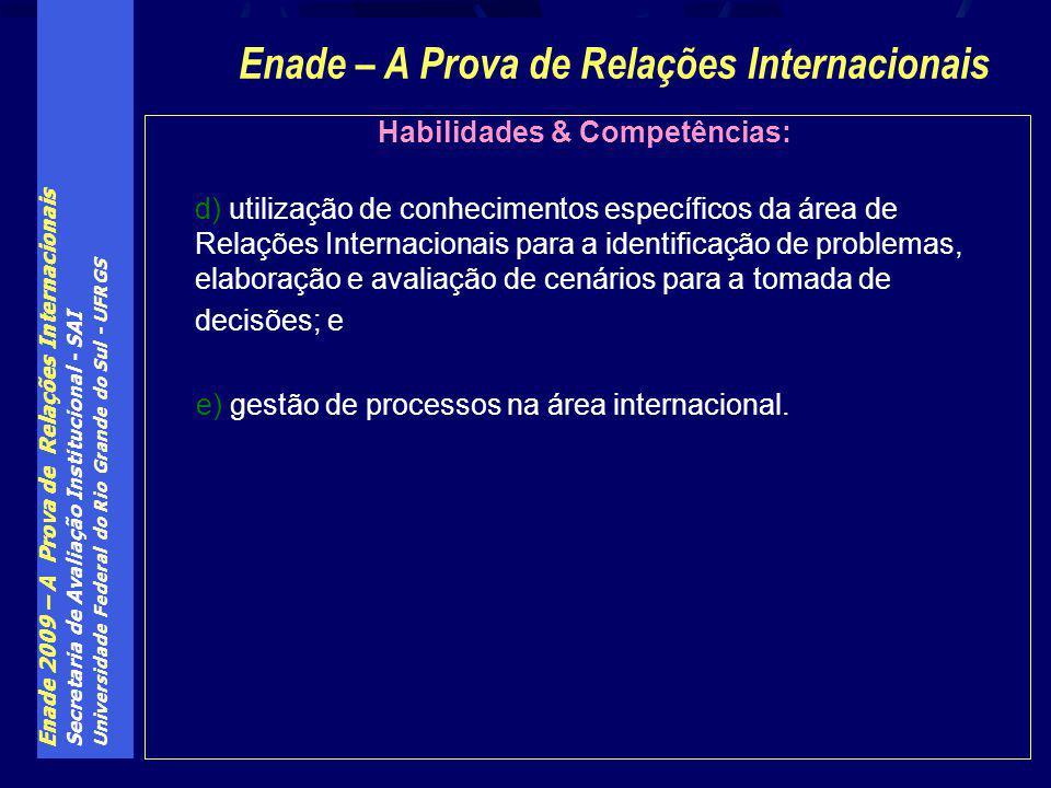 Enade 2009 – A Prova de Relações Internacionais Secretaria de Avaliação Institucional - SAI Universidade Federal do Rio Grande do Sul - UFRGS Habilida