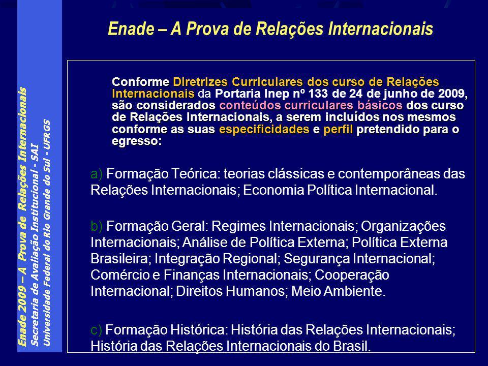 Enade 2009 – A Prova de Relações Internacionais Secretaria de Avaliação Institucional - SAI Universidade Federal do Rio Grande do Sul - UFRGS Conforme