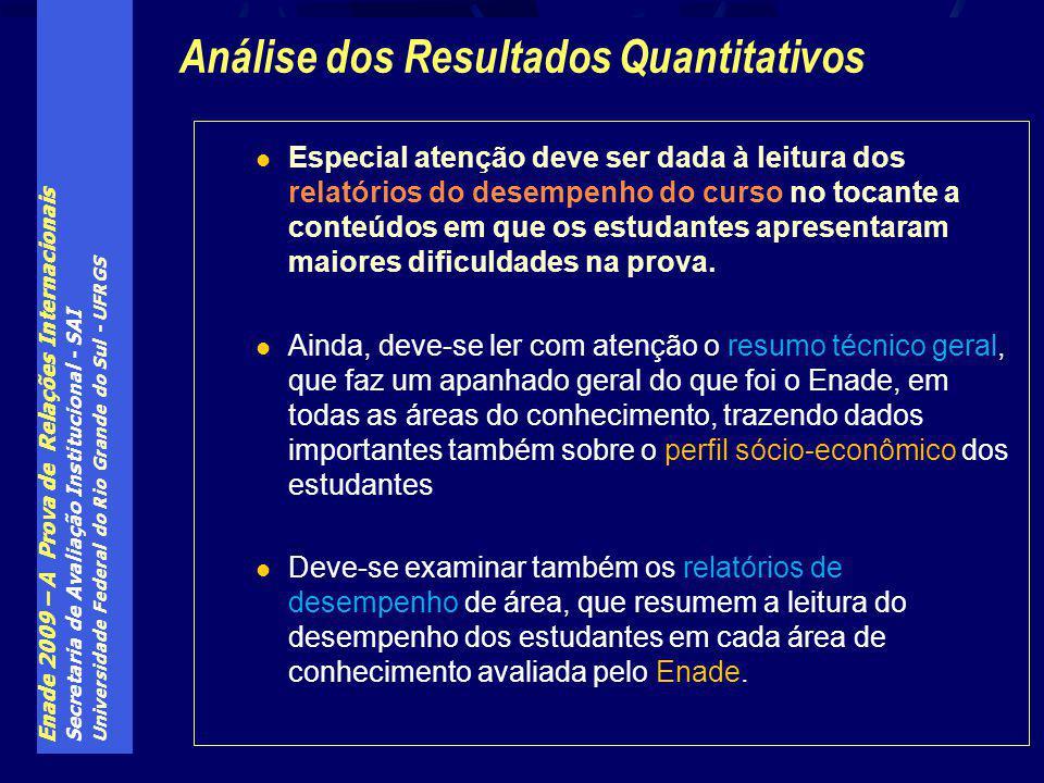 Enade 2009 – A Prova de Relações Internacionais Secretaria de Avaliação Institucional - SAI Universidade Federal do Rio Grande do Sul - UFRGS Especial
