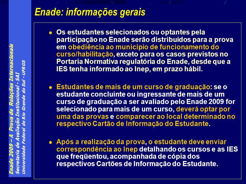 Enade 2009 – A Prova de Relações Internacionais Secretaria de Avaliação Institucional - SAI Universidade Federal do Rio Grande do Sul - UFRGS Os estud