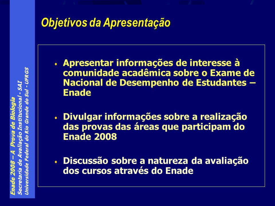 Enade 2008 – A Prova de Biologia Secretaria de Avaliação Institucional - SAI Universidade Federal do Rio Grande do Sul - UFRGS A nota final para obtenção do conceito do curso é dada pela expressão: NF = 0,25*NP T10 + 0,60*NP F30 + 0,15*NP I30 Onde: NP T10 – é a nota padronizada dos alunos iniciantes e concluintes do curso nas 10 questões sobre conhecimentos gerais NP F30 – é a nota padronizada dos alunos concluintes do curso nas 30 questões de conhecimentos de área do curso NP I30 – é a nota padronizada dos alunos iniciantes do curso nas 30 questões de conhecimentos de área do curso ENADE – a nota do curso