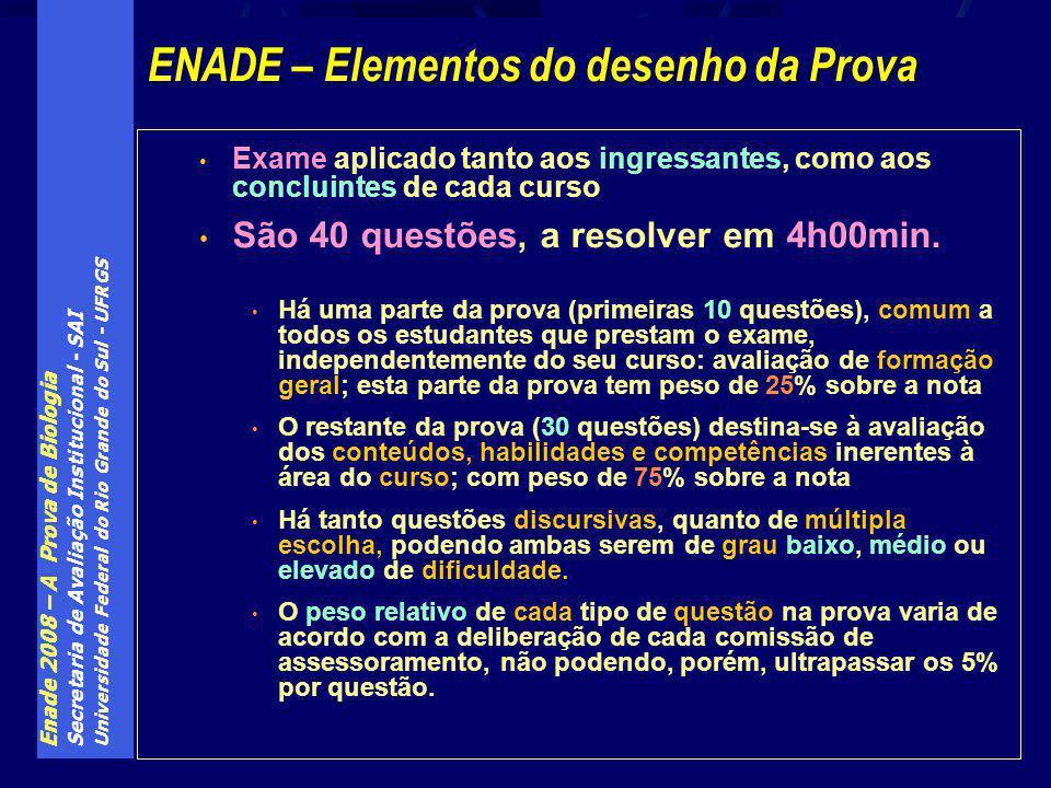 Enade 2008 – A Prova de Biologia Secretaria de Avaliação Institucional - SAI Universidade Federal do Rio Grande do Sul - UFRGS Exame aplicado tanto aos ingressantes, como aos concluintes de cada curso São 40 questões, a resolver em 4h00min.