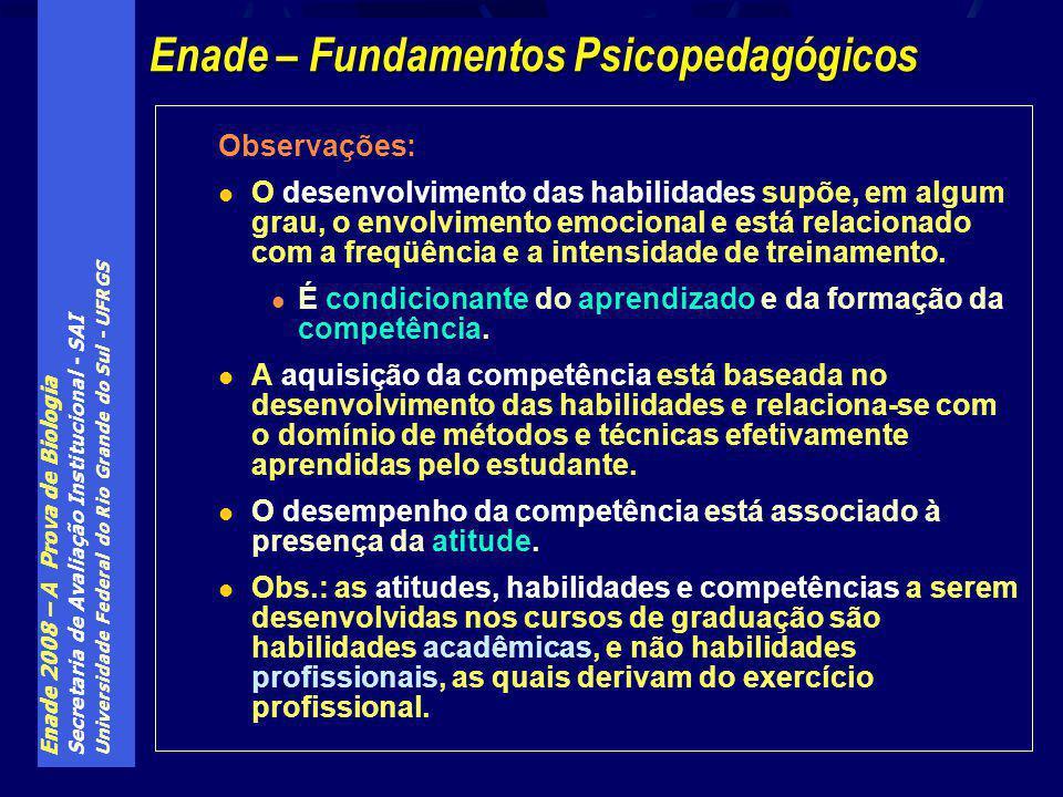 Enade 2008 – A Prova de Biologia Secretaria de Avaliação Institucional - SAI Universidade Federal do Rio Grande do Sul - UFRGS Observações: O desenvolvimento das habilidades supõe, em algum grau, o envolvimento emocional e está relacionado com a freqüência e a intensidade de treinamento.