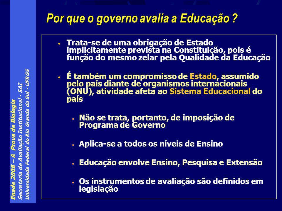 Enade 2008 – A Prova de Biologia Secretaria de Avaliação Institucional - SAI Universidade Federal do Rio Grande do Sul - UFRGS Trata-se de uma obrigação de Estado implicitamente prevista na Constituição, pois é função do mesmo zelar pela Qualidade da Educação É também um compromisso de Estado, assumido pelo país diante de organismos internacionais (ONU), atividade afeta ao Sistema Educacional do país Não se trata, portanto, de imposição de Programa de Governo Aplica-se a todos os níveis de Ensino Educação envolve Ensino, Pesquisa e Extensão Os instrumentos de avaliação são definidos em legislação Por que o governo avalia a Educação ?