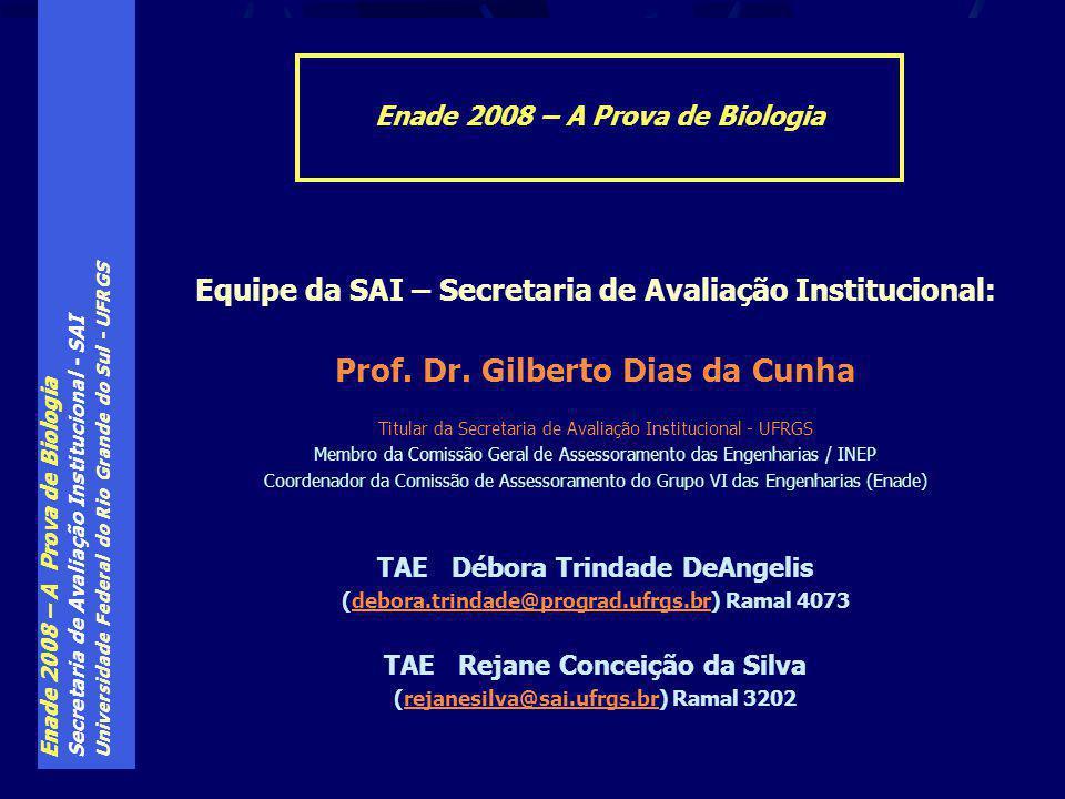 Enade 2008 – A Prova de Biologia Secretaria de Avaliação Institucional - SAI Universidade Federal do Rio Grande do Sul - UFRGS Equipe da SAI – Secretaria de Avaliação Institucional: Prof.