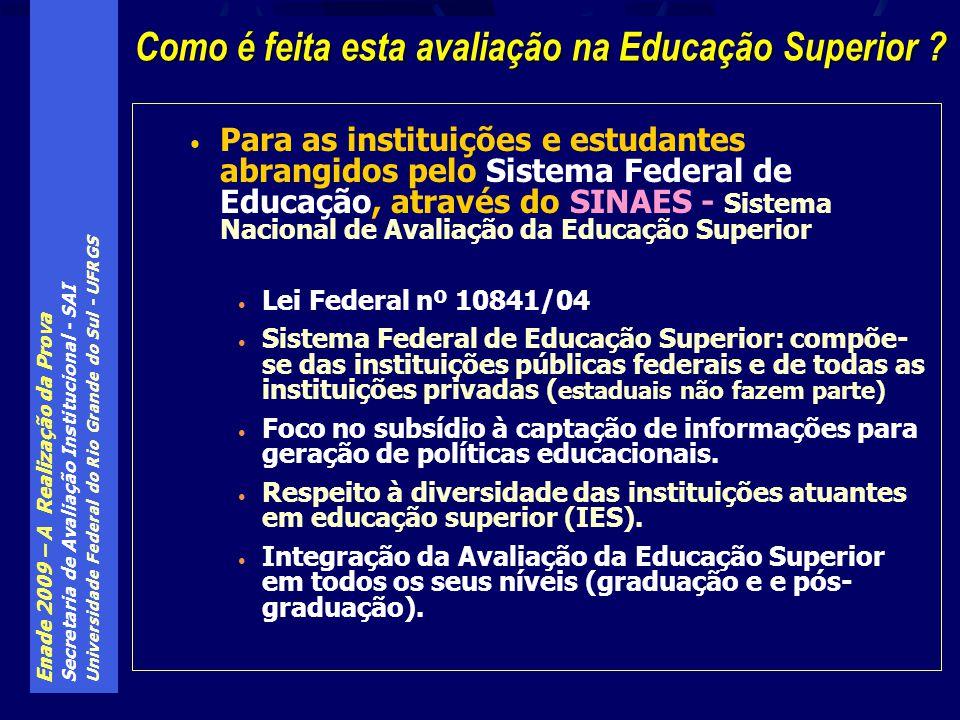 Enade 2009 – A Realização da Prova Secretaria de Avaliação Institucional - SAI Universidade Federal do Rio Grande do Sul - UFRGS Todas as provas, de todas as áreas, têm as mesmas 10 questões de Formação Geral (FG), com mesmo peso relativo sobre a nota final de estudantes e cursos de todas as áreas O componente específico (CE) compõe as últimas 30 questões da prova de cada área, e sua configuração é deliberada pela comissão de assessoramento de cada área, dentro de regras pré-estabelecidas pelo Inep Por exemplo, o número de questões discursivas ou o seu peso relativo sobre a nota do CE é pré-estabelecido pelo Inep Enade - A estrutura das diversas provas