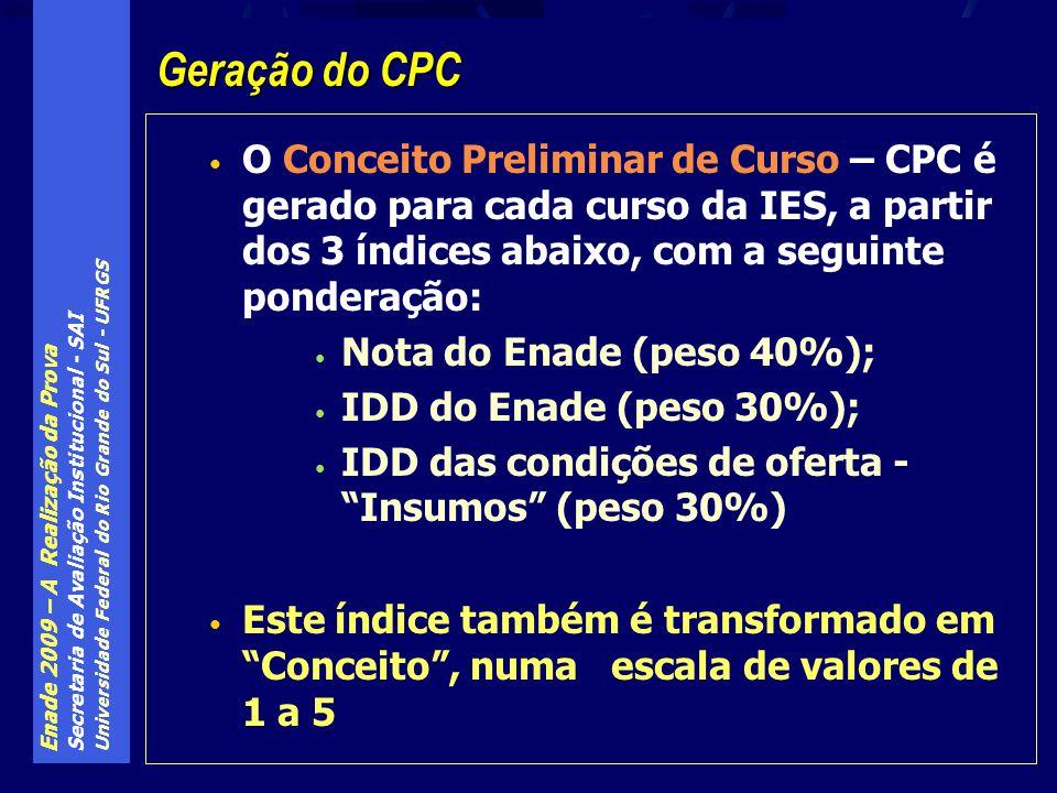 Enade 2009 – A Realização da Prova Secretaria de Avaliação Institucional - SAI Universidade Federal do Rio Grande do Sul - UFRGS O Conceito Preliminar de Curso – CPC é gerado para cada curso da IES, a partir dos 3 índices abaixo, com a seguinte ponderação: Nota do Enade (peso 40%); IDD do Enade (peso 30%); IDD das condições de oferta - Insumos (peso 30%) Este índice também é transformado em Conceito, numa escala de valores de 1 a 5 Geração do CPC