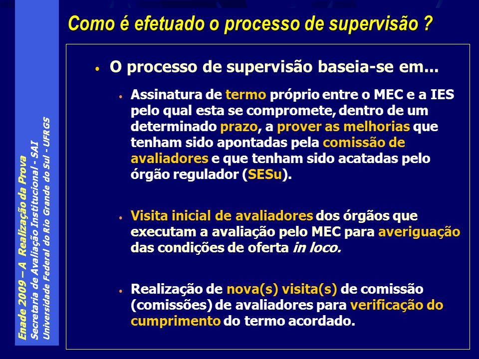 Enade 2009 – A Realização da Prova Secretaria de Avaliação Institucional - SAI Universidade Federal do Rio Grande do Sul - UFRGS O processo de supervisão baseia-se em...