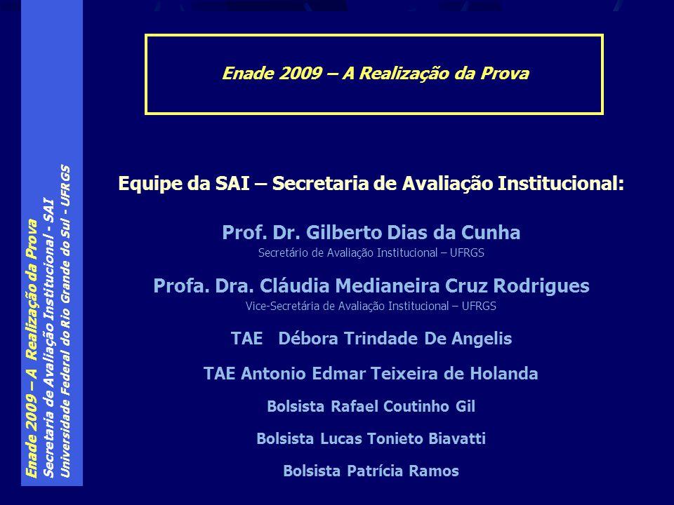 Enade 2009 – A Realização da Prova Secretaria de Avaliação Institucional - SAI Universidade Federal do Rio Grande do Sul - UFRGS Enade 2009 – A Realização da Prova Equipe da SAI – Secretaria de Avaliação Institucional: Prof.