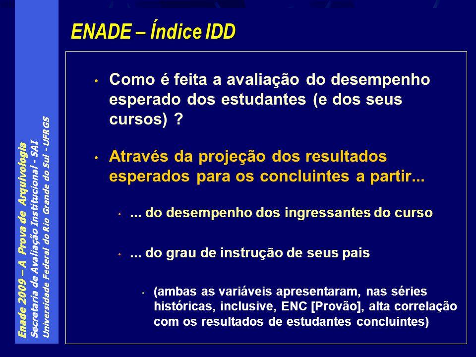 Enade 2009 – A Prova de Arquivologia Secretaria de Avaliação Institucional - SAI Universidade Federal do Rio Grande do Sul - UFRGS Como é feita a avaliação do desempenho esperado dos estudantes (e dos seus cursos) .