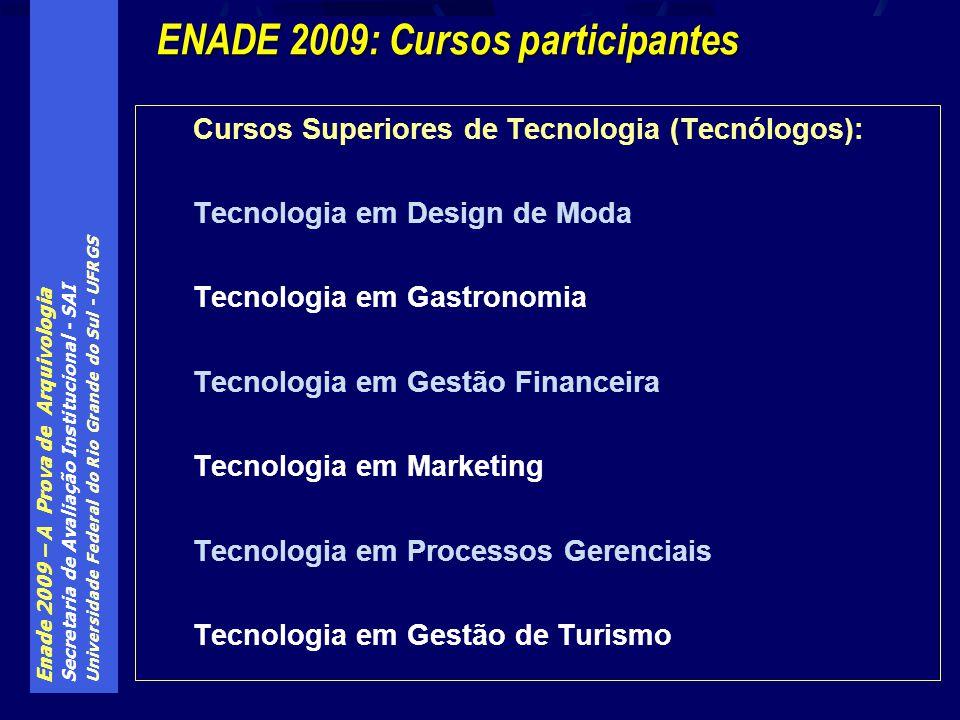 Enade 2009 – A Prova de Arquivologia Secretaria de Avaliação Institucional - SAI Universidade Federal do Rio Grande do Sul - UFRGS Cursos Superiores de Tecnologia (Tecnólogos): Tecnologia em Design de Moda Tecnologia em Gastronomia Tecnologia em Gestão Financeira Tecnologia em Marketing Tecnologia em Processos Gerenciais Tecnologia em Gestão de Turismo ENADE 2009: Cursos participantes