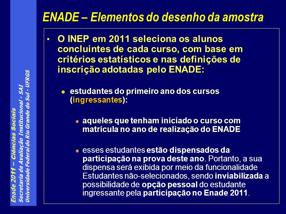 O INEP em 2011 seleciona os alunos concluintes de cada curso, com base em critérios estatísticos e nas definições de inscrição adotadas pelo ENADE: O INEP em 2011 seleciona os alunos concluintes de cada curso, com base em critérios estatísticos e nas definições de inscrição adotadas pelo ENADE: estudantes do primeiro ano dos cursos (ingressantes): estudantes do primeiro ano dos cursos (ingressantes): aqueles que tenham iniciado o curso com matrícula no ano de realização do ENADE aqueles que tenham iniciado o curso com matrícula no ano de realização do ENADE esses estudantes estão dispensados da participação na prova deste ano.