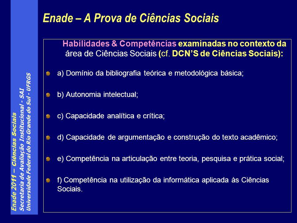 Habilidades & Competências examinadas no contexto da área de Ciências Sociais (cf.