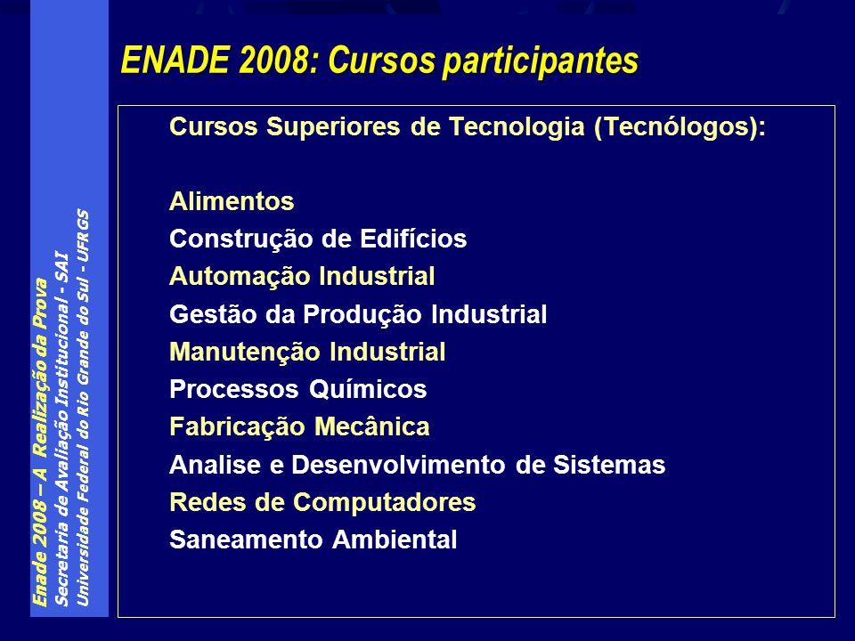 Enade 2008 – A Realização da Prova Secretaria de Avaliação Institucional - SAI Universidade Federal do Rio Grande do Sul - UFRGS Cursos Superiores de