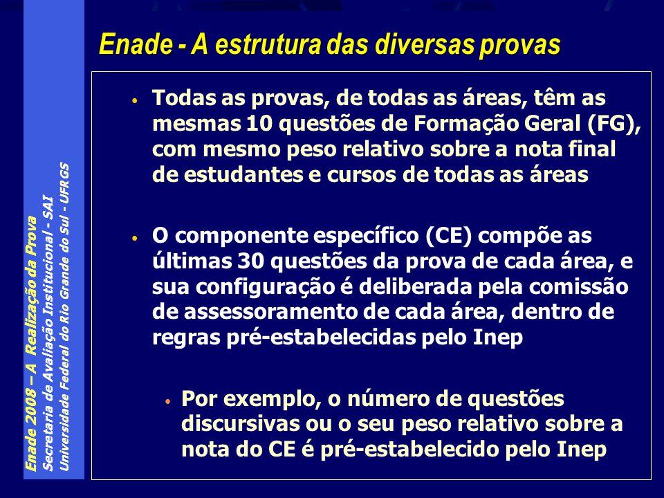 Enade 2008 – A Realização da Prova Secretaria de Avaliação Institucional - SAI Universidade Federal do Rio Grande do Sul - UFRGS Todas as provas, de todas as áreas, têm as mesmas 10 questões de Formação Geral (FG), com mesmo peso relativo sobre a nota final de estudantes e cursos de todas as áreas O componente específico (CE) compõe as últimas 30 questões da prova de cada área, e sua configuração é deliberada pela comissão de assessoramento de cada área, dentro de regras pré-estabelecidas pelo Inep Por exemplo, o número de questões discursivas ou o seu peso relativo sobre a nota do CE é pré-estabelecido pelo Inep Enade - A estrutura das diversas provas