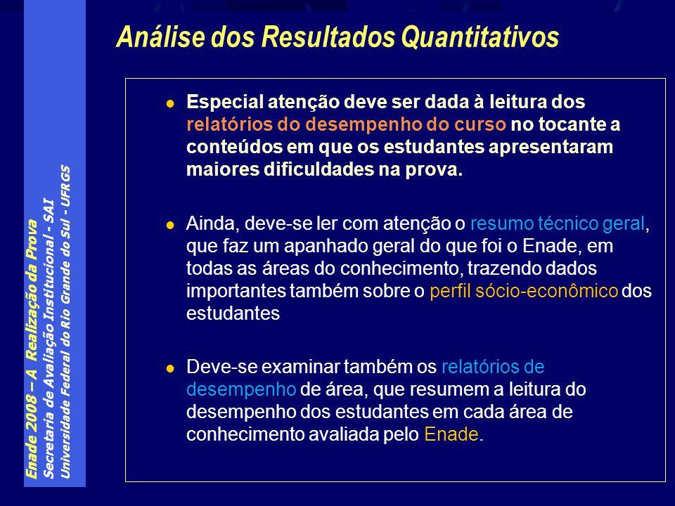 Enade 2008 – A Realização da Prova Secretaria de Avaliação Institucional - SAI Universidade Federal do Rio Grande do Sul - UFRGS Especial atenção deve