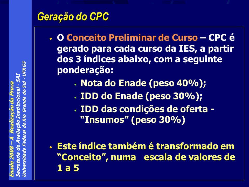 Enade 2008 – A Realização da Prova Secretaria de Avaliação Institucional - SAI Universidade Federal do Rio Grande do Sul - UFRGS O Conceito Preliminar de Curso – CPC é gerado para cada curso da IES, a partir dos 3 índices abaixo, com a seguinte ponderação: Nota do Enade (peso 40%); IDD do Enade (peso 30%); IDD das condições de oferta - Insumos (peso 30%) Este índice também é transformado em Conceito, numa escala de valores de 1 a 5 Geração do CPC