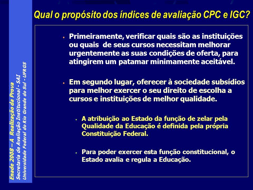 Enade 2008 – A Realização da Prova Secretaria de Avaliação Institucional - SAI Universidade Federal do Rio Grande do Sul - UFRGS Primeiramente, verifi