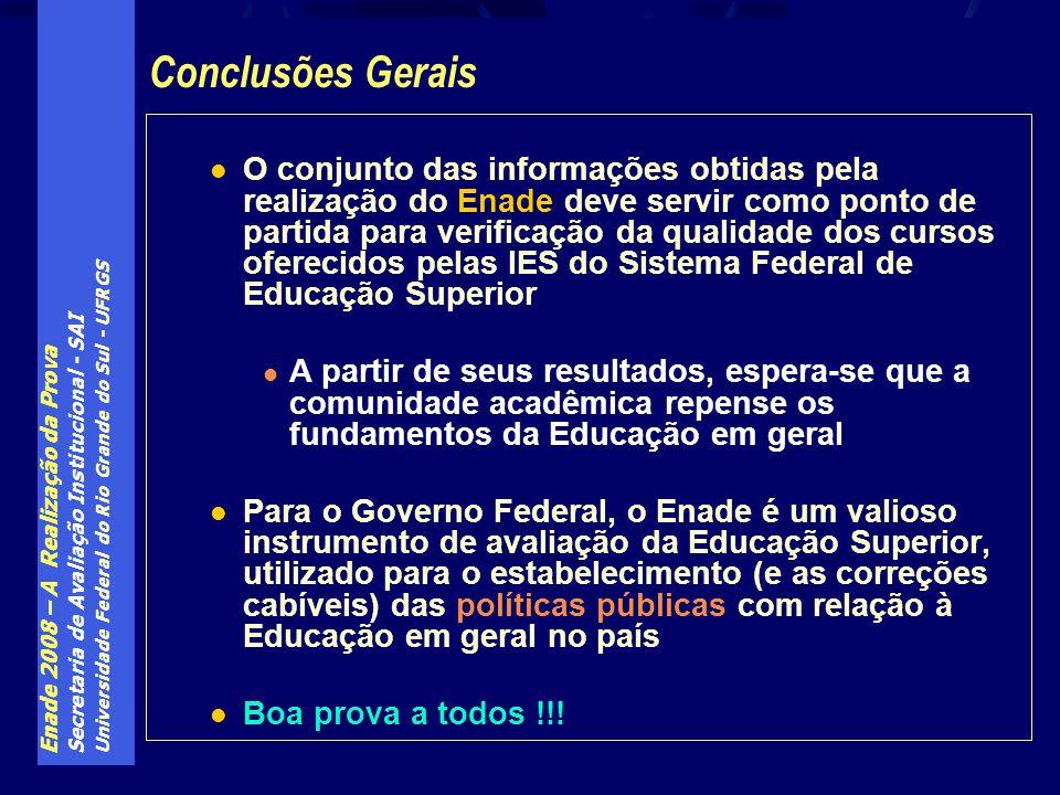 Enade 2008 – A Realização da Prova Secretaria de Avaliação Institucional - SAI Universidade Federal do Rio Grande do Sul - UFRGS O conjunto das inform