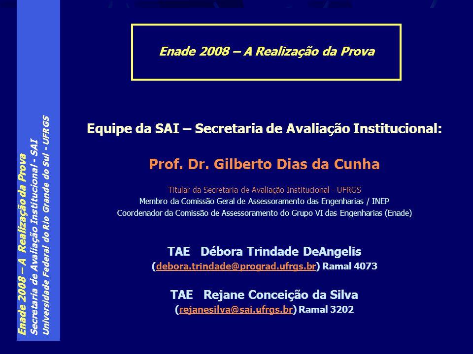 Enade 2008 – A Realização da Prova Secretaria de Avaliação Institucional - SAI Universidade Federal do Rio Grande do Sul - UFRGS Equipe da SAI – Secre