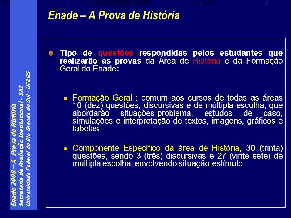 Enade 2008 – A Prova de História Secretaria de Avaliação Institucional - SAI Universidade Federal do Rio Grande do Sul - UFRGS Tipo de questões respon