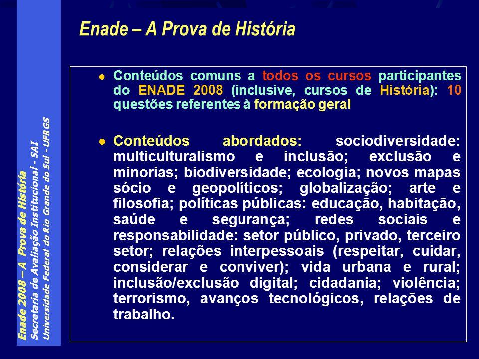 Enade 2008 – A Prova de História Secretaria de Avaliação Institucional - SAI Universidade Federal do Rio Grande do Sul - UFRGS Conteúdos comuns a todo
