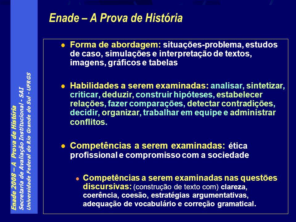 Enade 2008 – A Prova de História Secretaria de Avaliação Institucional - SAI Universidade Federal do Rio Grande do Sul - UFRGS Forma de abordagem: sit