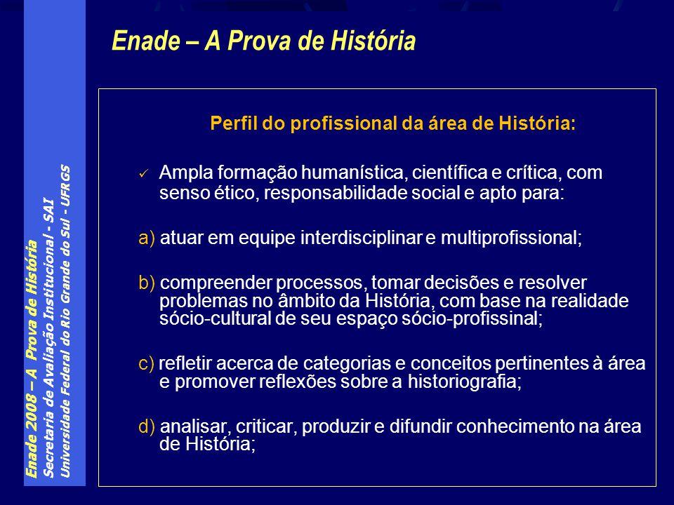 Enade 2008 – A Prova de História Secretaria de Avaliação Institucional - SAI Universidade Federal do Rio Grande do Sul - UFRGS Perfil do profissional