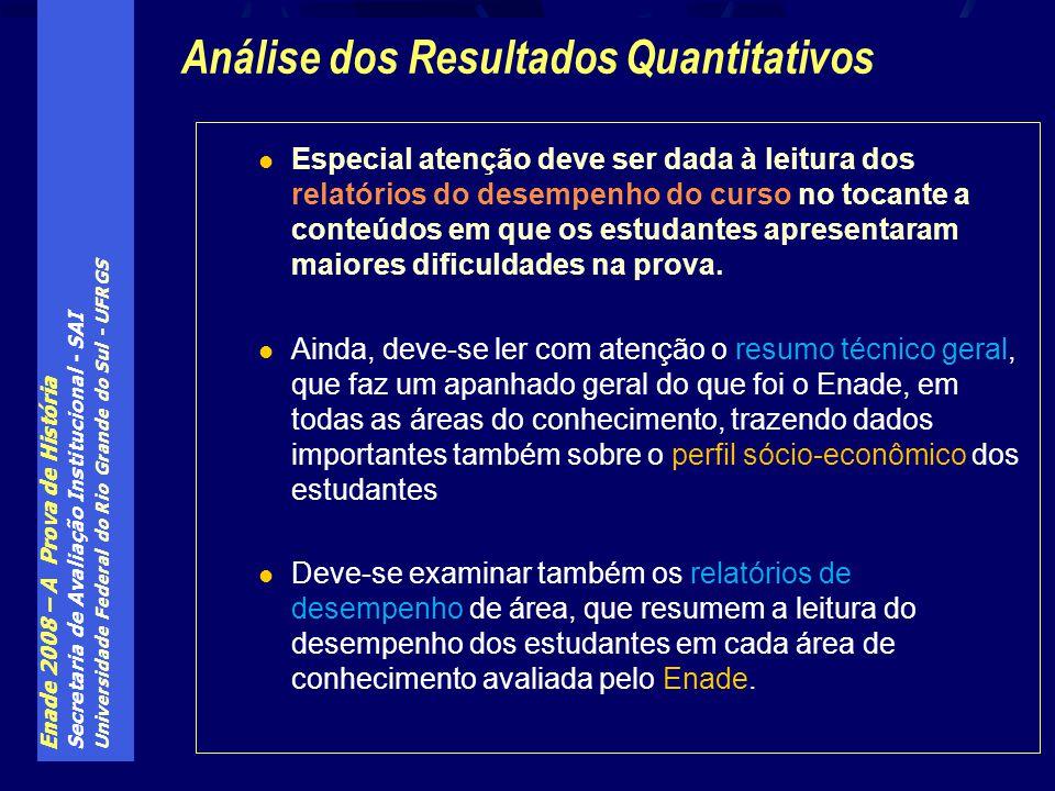 Enade 2008 – A Prova de História Secretaria de Avaliação Institucional - SAI Universidade Federal do Rio Grande do Sul - UFRGS Especial atenção deve s