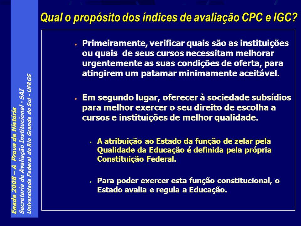 Enade 2008 – A Prova de História Secretaria de Avaliação Institucional - SAI Universidade Federal do Rio Grande do Sul - UFRGS Primeiramente, verifica