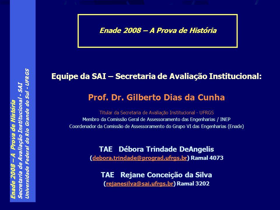 Enade 2008 – A Prova de História Secretaria de Avaliação Institucional - SAI Universidade Federal do Rio Grande do Sul - UFRGS Equipe da SAI – Secreta
